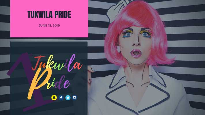 Tukwila Pride 2019 artwork featuring a feminine figure in comic stylism.