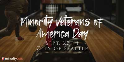 """text stating """"minority veterans of America Day"""" over a photo of a person bowling at a bowling alley"""
